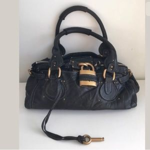 CHLOE PADDINGTON BLACK LEATHER SATCHEL BAG